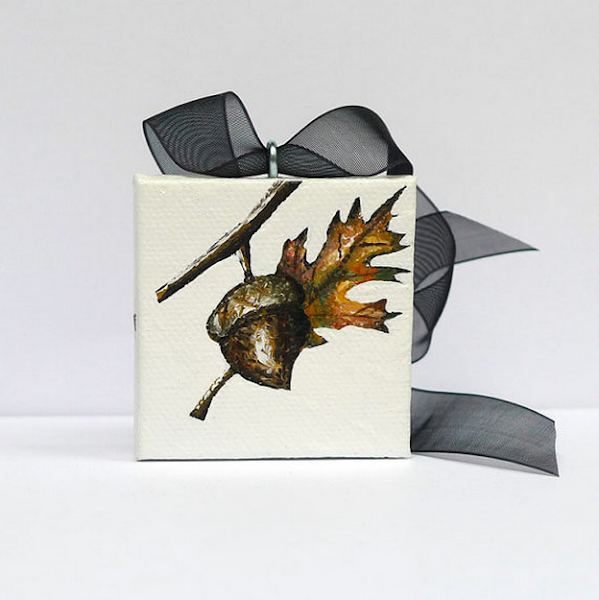 This Beautiful Rustic Chic Hand Painted Thanksgiving Ornament Is My One Of A Kind Original Mini Acrylic Painting On Stretched Canvas Unique Gift Idea