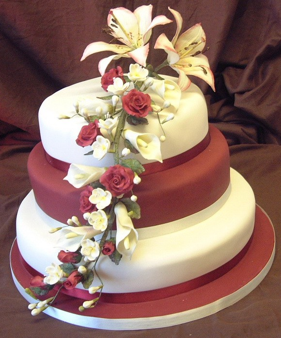 wedding cakes with lilies and roses wedding cakes with roses and lilies 2012 26057