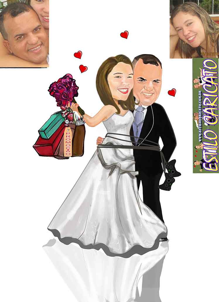 caricatura colorida da noiva fazendo compras