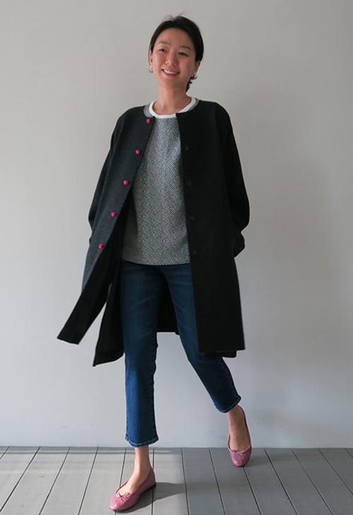 Loose Charcoal Long Jacket