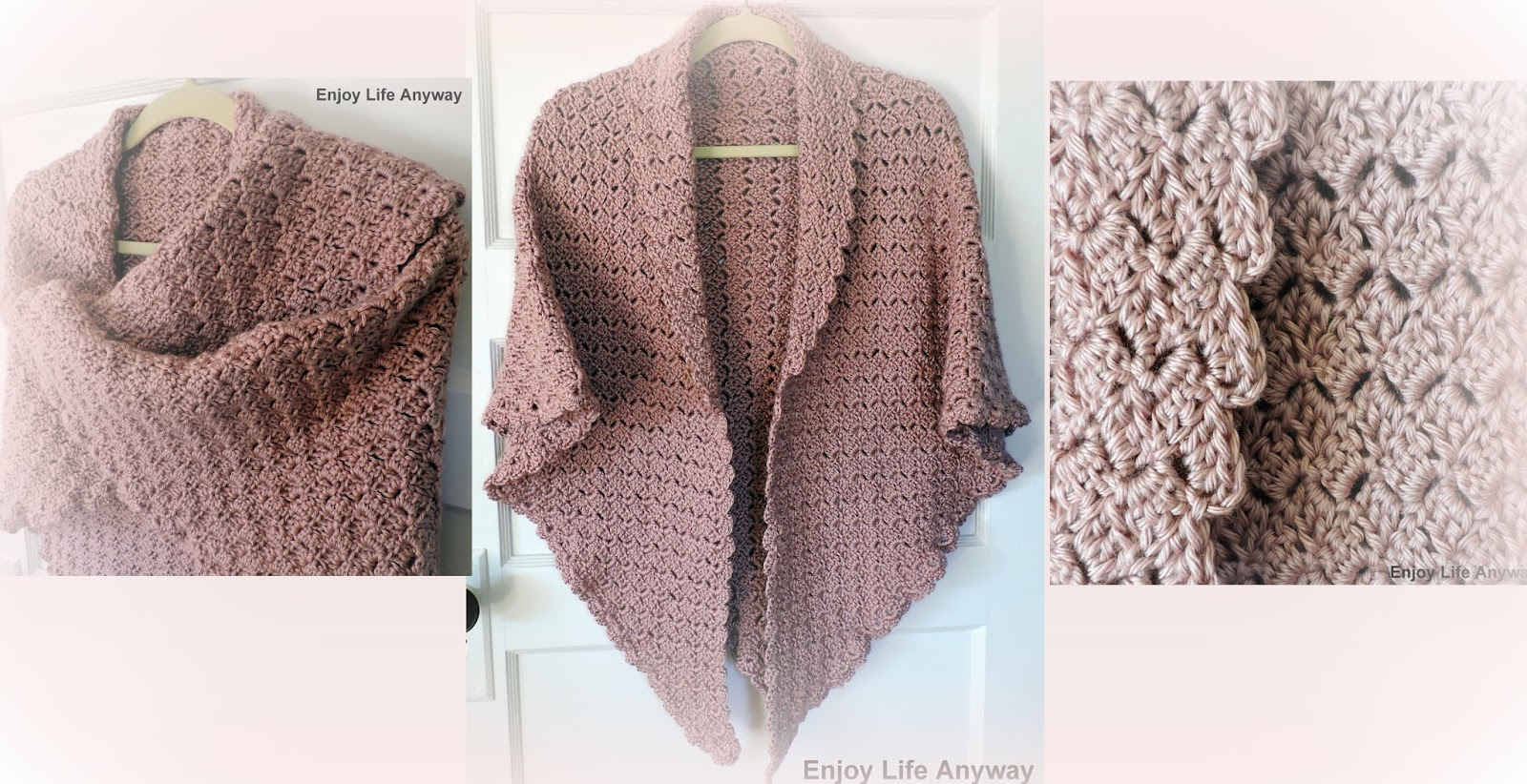 Enjoy Life Anyway Corner To Corner Crochet Shawl With Scalloped Edge