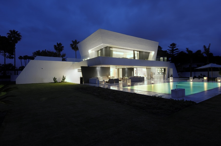 Modern Sotogrande House by A-Cero Architects at night