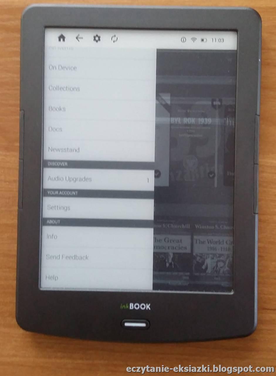 Dolna część bocznego menu ekranu głównego aplikacji Kindle na InkBOOK Classic 2