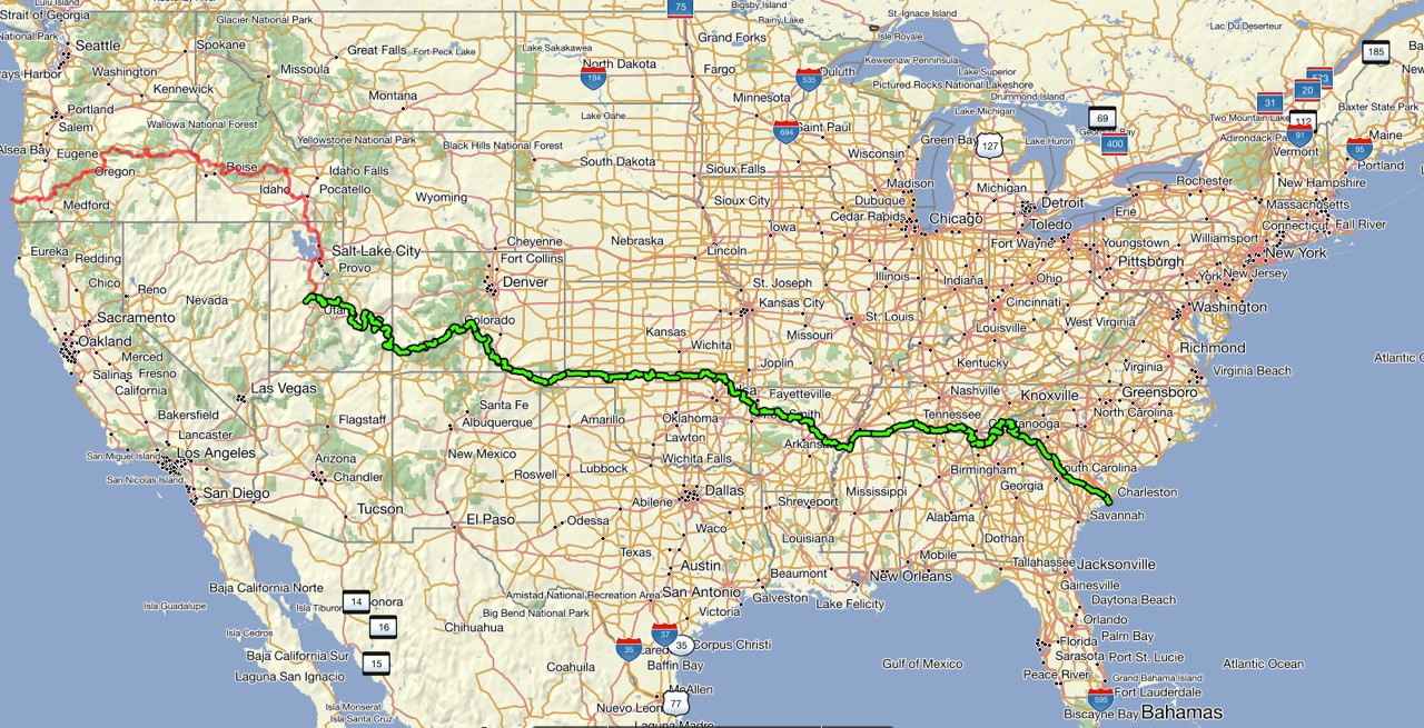 the maps below shows the usa with our completed ride in green and our to be completed section in red more on the red track in the next paragraph