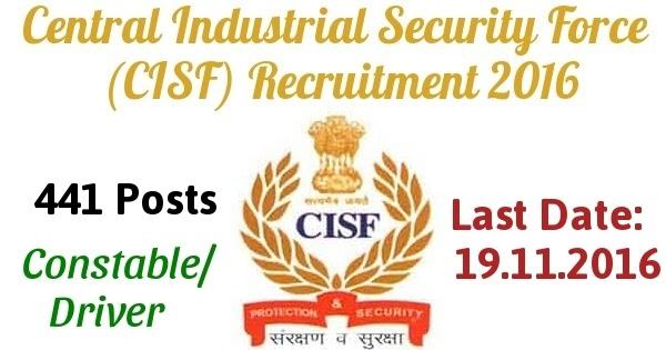 CISF Constable Recruitment 2013 Constable/ Driver Vacancies