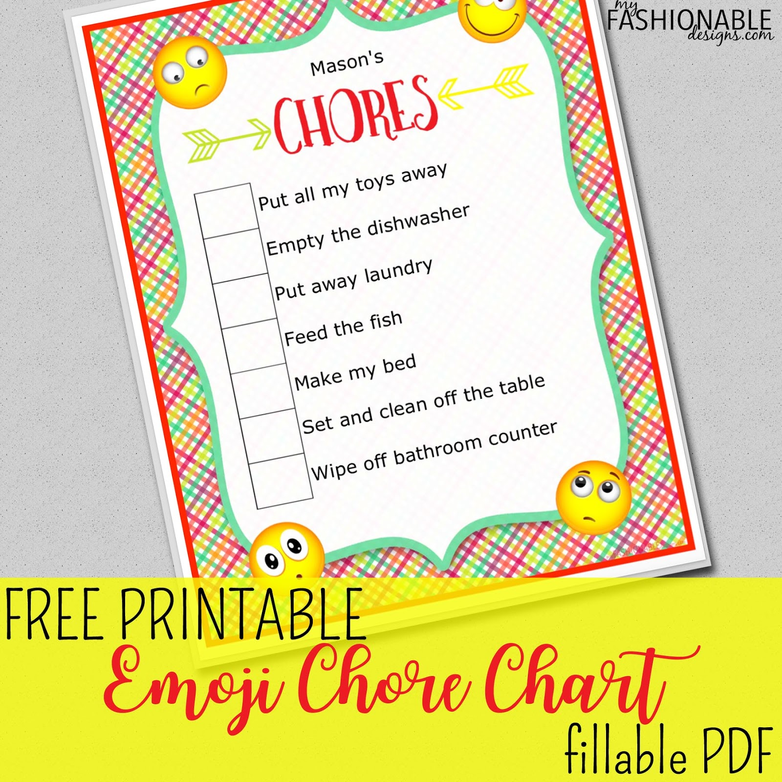 Free Printable Emoji Chore Chart Fillable PDF