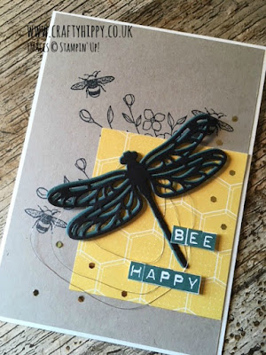 Learn how to create this gorgeous bee and dragonfly card using the Touches of Texture stamp set and Detailed Dragonfly Dies from Stampin' Up!