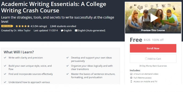 [BESTSELLING][100% Off] Academic Writing Essentials: A College Writing Crash Course| Worth 125$