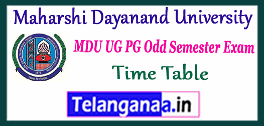 MDU Maharshi Dayanand University 1st 3rd 5th 7th Semester UG PG Exam Time Table 2017
