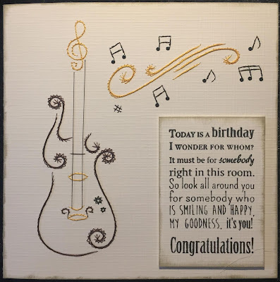 Paper embroidery guitar card