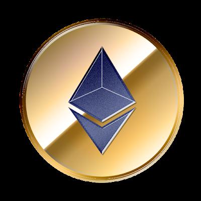 イーサリアム(Ethereum)のフリー素材(金貨青色ver)