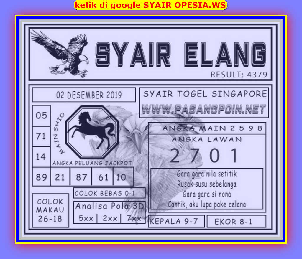 Kode syair Singapore Senin 2 Desember 2019 96