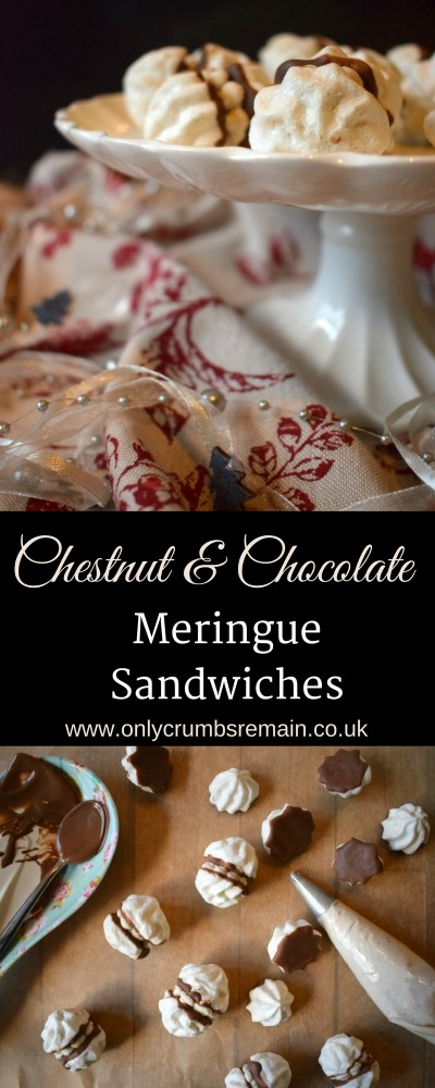 These Chestnut & Chocolate Meringue Sandwiches are very moreish and perfect for the party season.