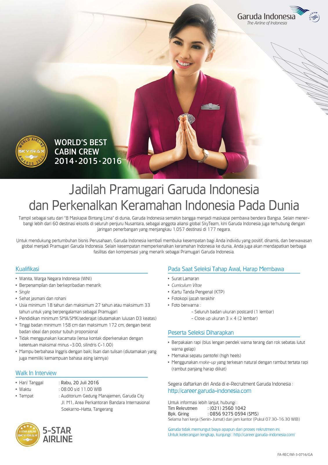 Lowongan Kerja Pramugari Garuda Indonesia Terbaru 2016 - Loker Update b67e439773