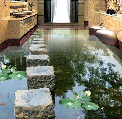 wonderful 3d floor designs for bathroom with water lilies in decoration