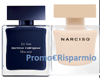 Logo Richiedi gratis i campioni omaggio di For Her Fleur Musc e For Him Bleu Noir eau de parfun Narciso Rodriguez