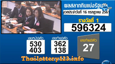 Thai Lottery 16 July 2018 Live Result in English Online Update