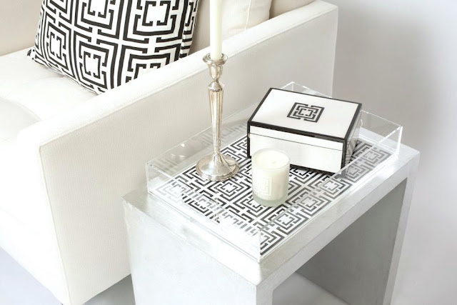 COCOCOZY Lucite Tray holding black and white COCOCOZY Lacquer Box and candle on silver table in a white living room