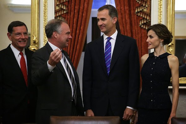 King Felipe VI and Queen Letizia of Spain during a photoshoot with U.S. Sen. Tim Kaine and Sen. John Barrasso prior to a meeting with the U.S. Senate Foreign Relations Committee