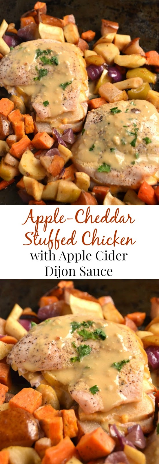Apple-Cheddar Stuffed Chicken with Apple Cider-Dijon Sauce is ready in just 30 minutes and is bursting with flavor. The mix of sweet, tangy and creamy flavors makes the perfect combination. www.nutritionistreviews.com