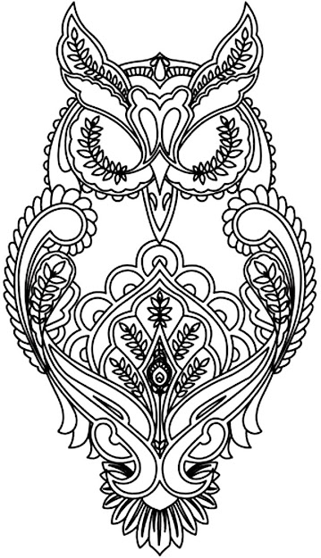 Free Coloring Page Coloring Adult Difficult Owl Coloring