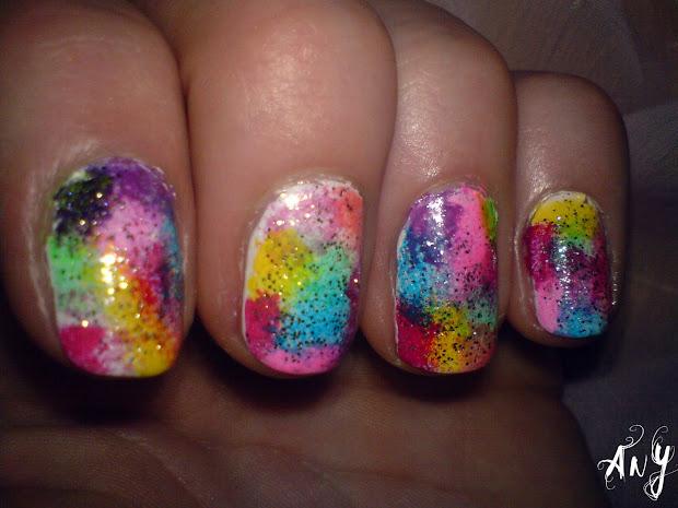 rainbow circus nail design