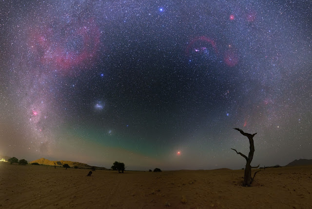 Gegenschein, Total Lunar Eclipse, Milky Way Galaxy, Large Magellanic Cloud Galaxy and Small Magellanic Cloud Galaxy