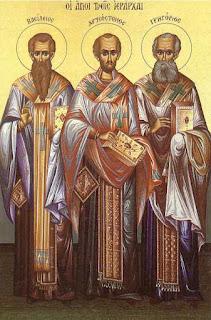 Οι τρεις Ιεράρχες, Άγιοι Προστάτες της Παιδείας και των Γραμμάτων, γιορτάζουν σήμερα 30 Ιανουαρίου.