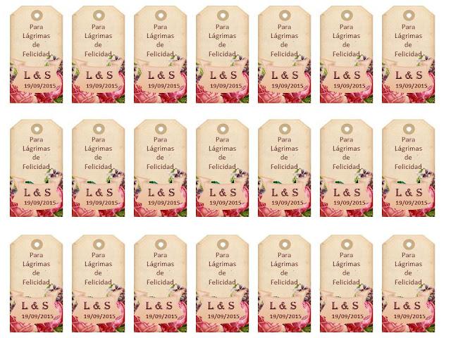 Si te gusta cuidar hasta el último detalle de tu Boda personaliza las etiquetas para los pañuelos de lágrimas de felicidad