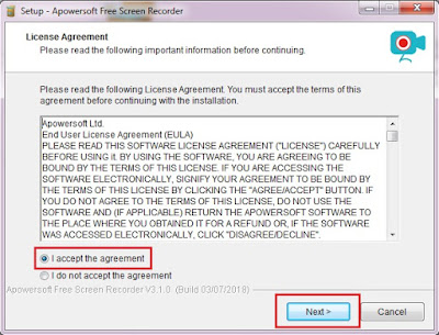 Pastikan Sobat memilih I accept the agreement, kemudian Sobat klik Next.