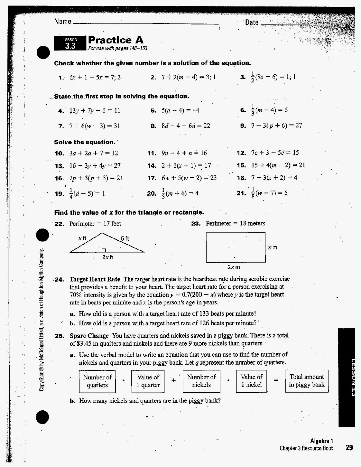 Heidemann 8th Grade Math Algebra 1 Hw 8 26