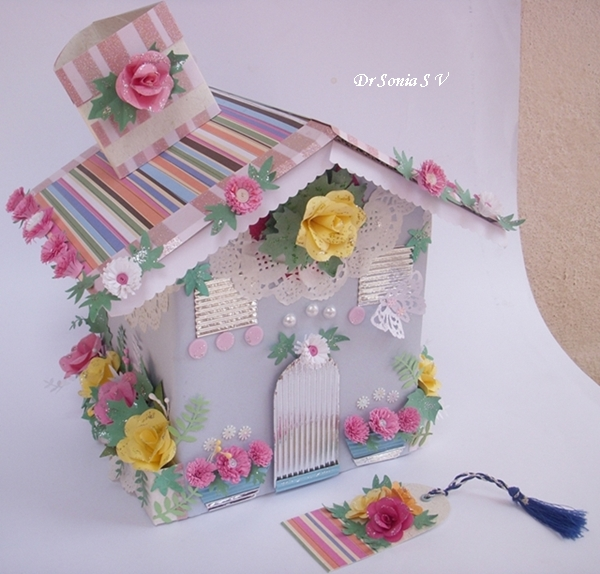 House Shaped Box With Punchcraft And Quilling Recycled Craft
