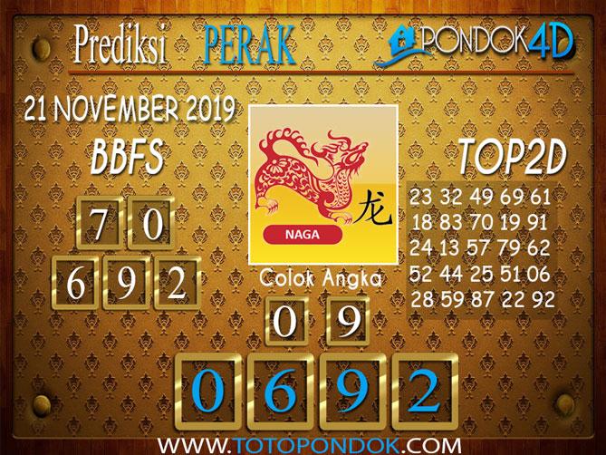 Prediksi Togel PERAK PONDOK4D 21 NOVEMBER 2019