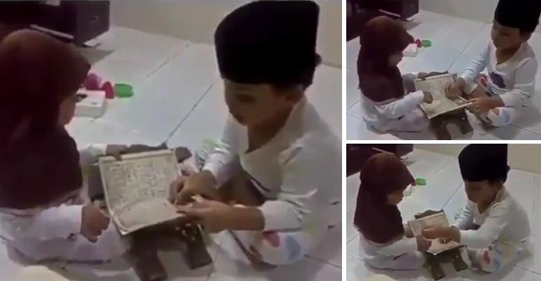 Bocah ini ajari adiknya mengaji