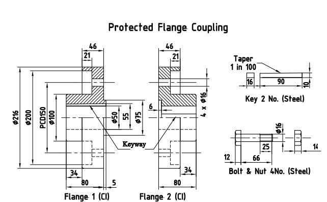 Machine Drawing: Flange Coupling