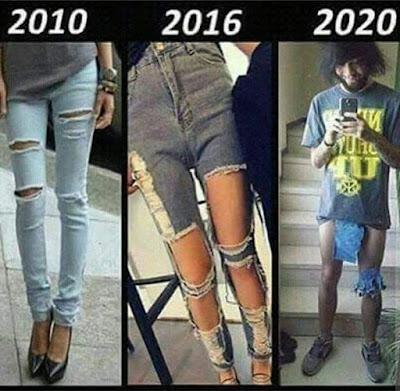 evolución, pantalones, 2010, 2016, 2020