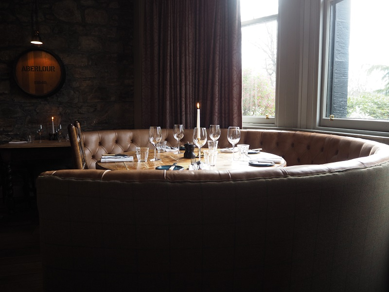 Sun filtering over a table in the Craigellachie restaurant