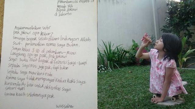 Bahagianya Bulan, Setelah Mimpinya Punya Kursi Roda Diwujudkan Presiden Jokowi, Baca Ungkapan Senangnya Jadi.....