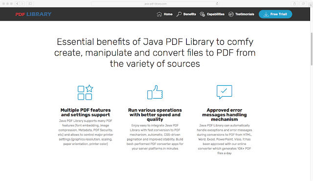 Lead generating website for Java PDF Library made by Andrey Palagin