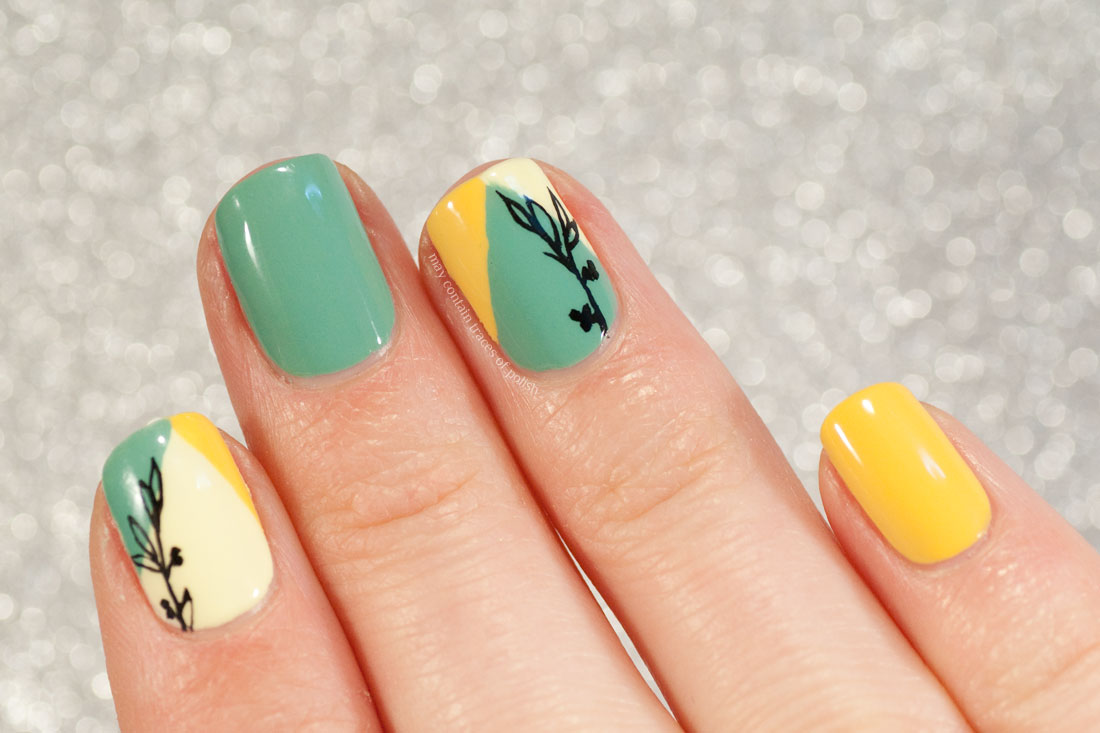 Geometric Color Block Floral Nails in Green and Yellow