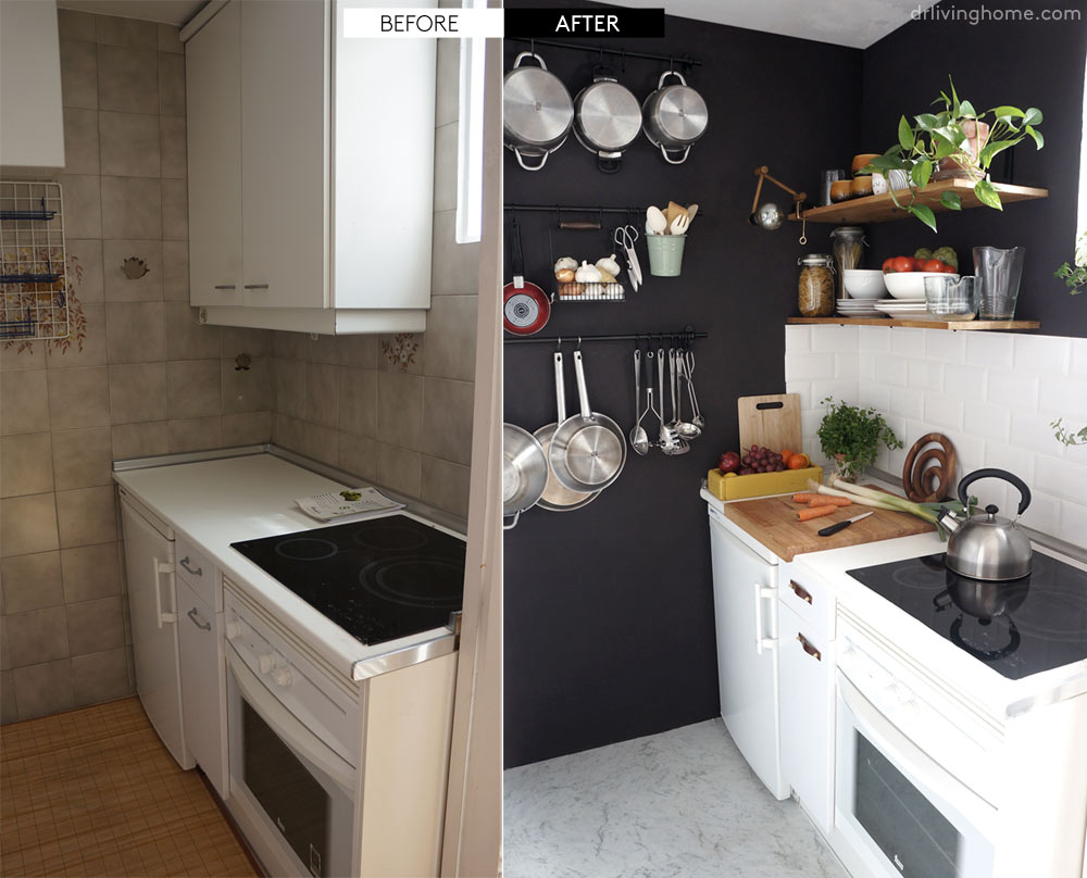 Diy small kitchen remodel before and after our kitchen for Small kitchen remodel before and after