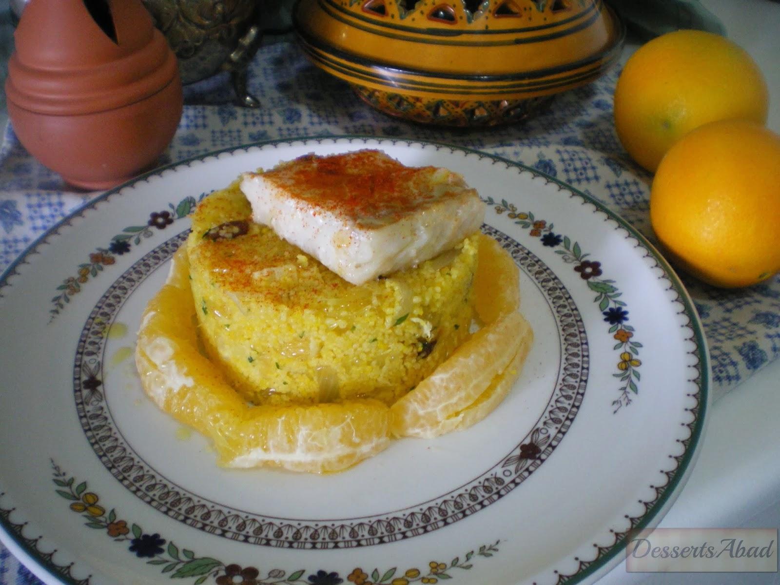 Ensalada templada de cuscús de naranja con bacalao