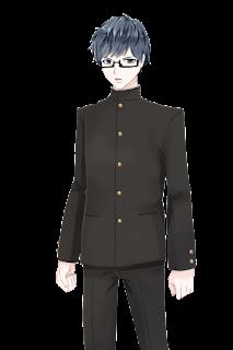 怒っているメガネをかけて学ランを着た学生の立ち絵フリー素材