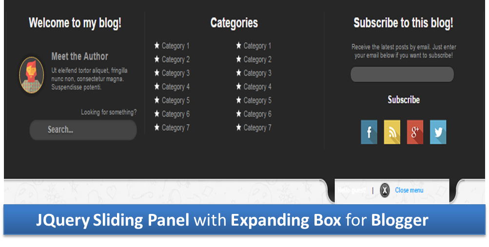 jQuery Sliding Panel with Expanding Box for Blogger | PRO TECHNIFY