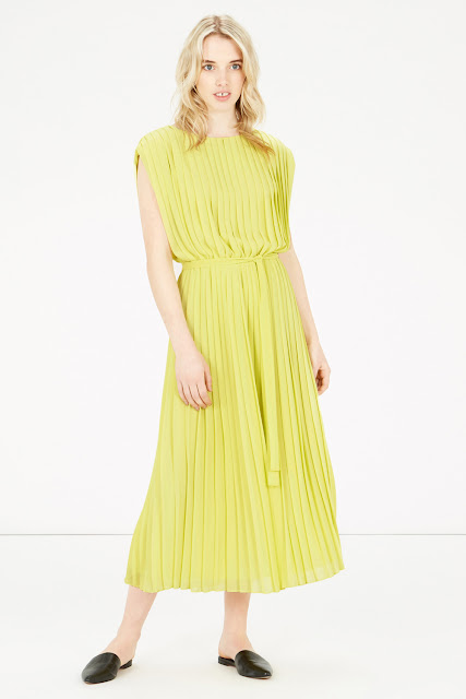 warehouse yellow dress, yellow pleated dress,