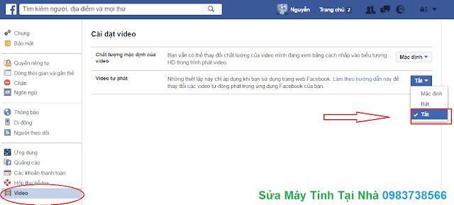 Tắt tự phát video Facebook - H02