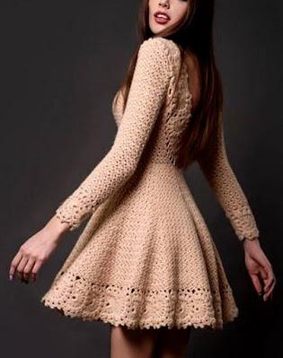 Vestido em Crochê rodado