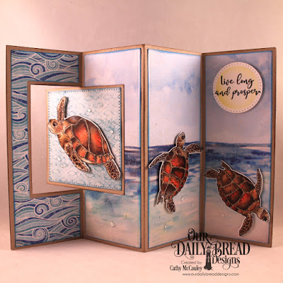 Our Daily Bread Designs Stamp/Die Duos: Turtle Love, Paper Collection: By the Shore, Custom Dies: Lever Card, Lever Card Layers, Pierced Squares, Pierced Circles, Double Stitched Pennant Flags