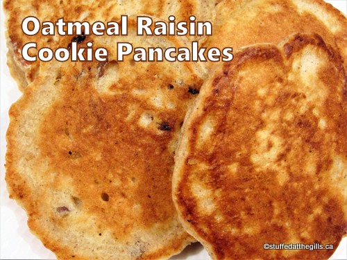 Oatmeal Raisin Cookie Pancakes piled on a plate.