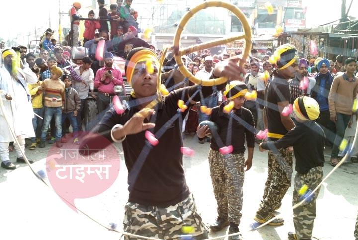 sikh warrior on guru govind singh birthday celebration gajraula